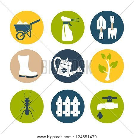 Gardening and farm flat icons vector set