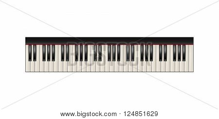 Realistic piano keyboard, 61 keys, isolated on a white background. Piano image, piano eps 10, piano vector, piano illustration, piano jpg, piano picture, piano design, piano web, piano art, piano app. Vector EPS10 illustration.