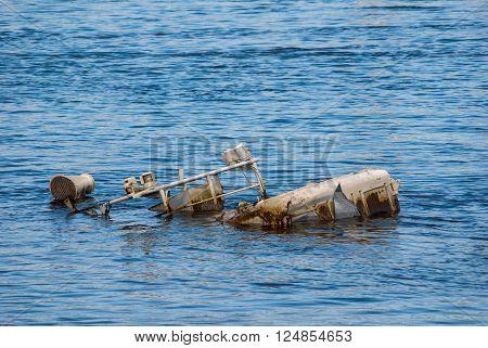 Sunken Vessel In A River