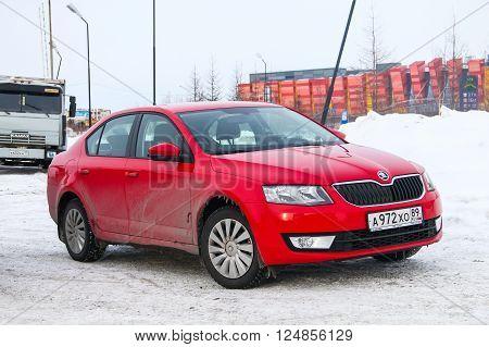 NOVYY URENGOY, RUSSIA - MARCH 27, 2016: Motor car Skoda Octavia in the city street.