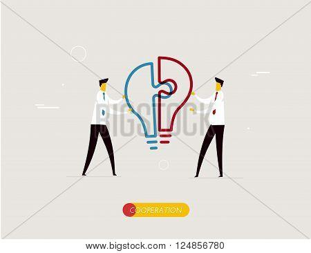 Businessmen connect puzzle lamp. Joint efforts, success, union, idea. Vector illustration Eps 10 file. Success Cooperation