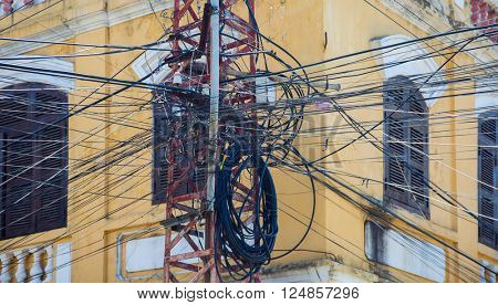 Tangled mess of overhead power lines