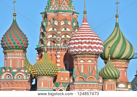 St. Basil's Cathedral on red square in Moscow. Moscow Kremlin Cathedral Of The Intercession Of The Blessed Virgin Mary.