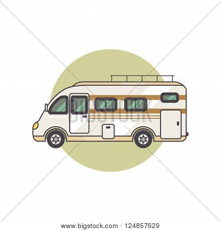 Transport facility - caravan - family car for travel and recreation. Vector illustration motor home isolated on white background. Flat icon camping van. House on wheels for family tourist comfort.