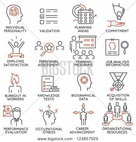 Vector set of 16 icons related to business management strategy career progress and business process.