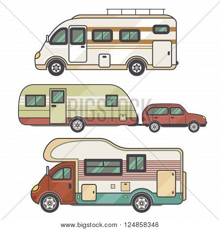 Set transport facility - caravan - family car for travel and recreation. Vector illustration motor home isolated on white background. Flat icon camping van. House on wheels for family tourist comfort.