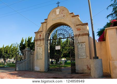 April 3 2016: Photo of Mission San Gabriel Arcangel cemeterywhich is located in San Gabriel Californa USA.