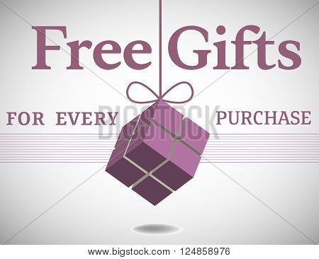 Colorful background with a gift box hanging and the text free gifts for every purchase written with various letters