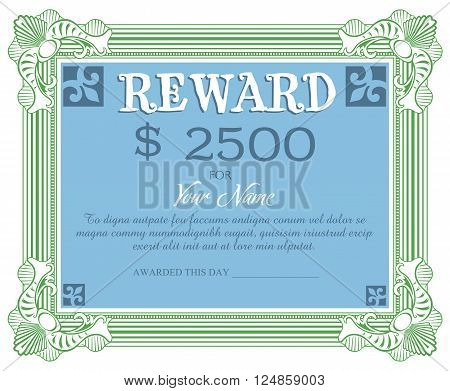 Isolated reward document with the text reward 2500 dollars written on the reward