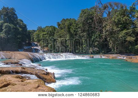 View of waterfal Agua Azul Chiapas Mexico