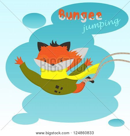 Bungee jumping: cute cartoon Fox jumps elastic on the background of clouds