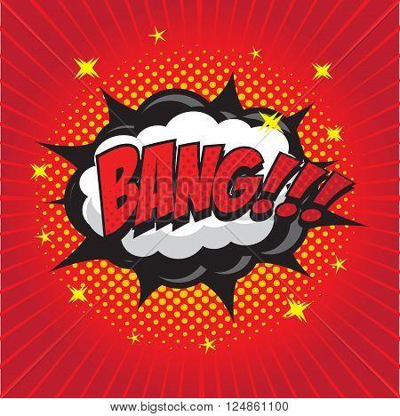 BANG! wording sound effect set design for comic background, comic strip