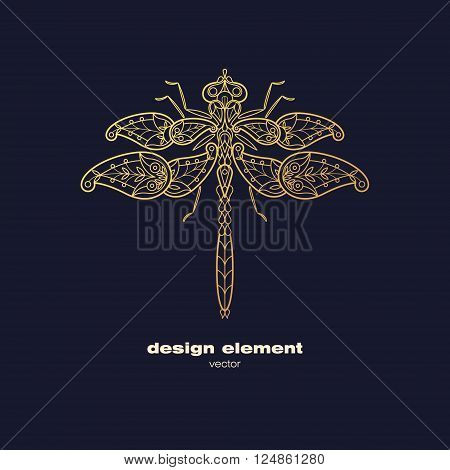 Vector design element - dragonfly. Icon decorative insect isolated on black background. Modern decorative illustration insect. Template for logo emblem sign poster. Concept of gold foil print.