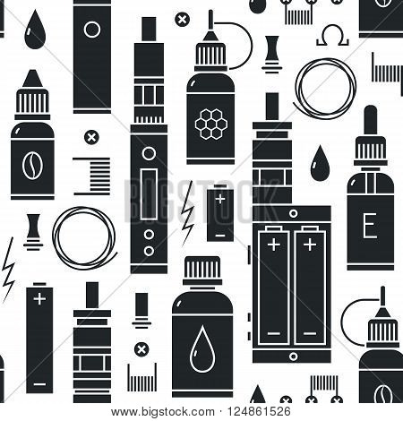 Vector seamless pattern for vape shop and vape service, e-cigarette store, isolated on white background.