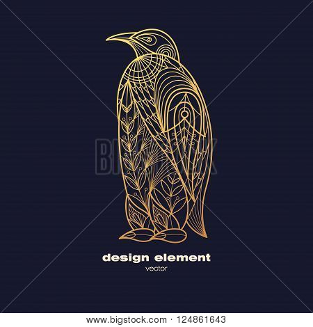Vector design element penguin. Icon decorative animal isolated on black background. Modern decorative illustration animal. Template for creating logo emblem sign poster. Concept of gold foil print.