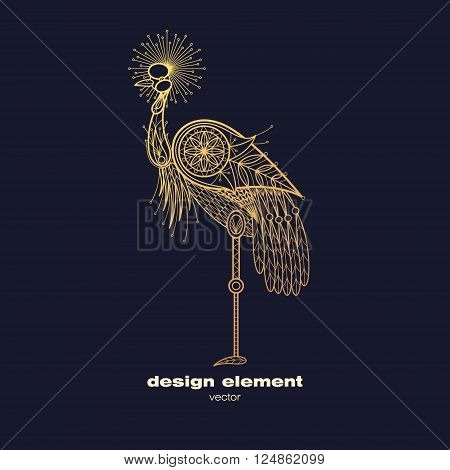 Vector design element - Crowned crane. Icon decorative bird isolated on black background. Modern decorative illustration bird. Template for logo emblem sign poster. Concept of gold foil print.