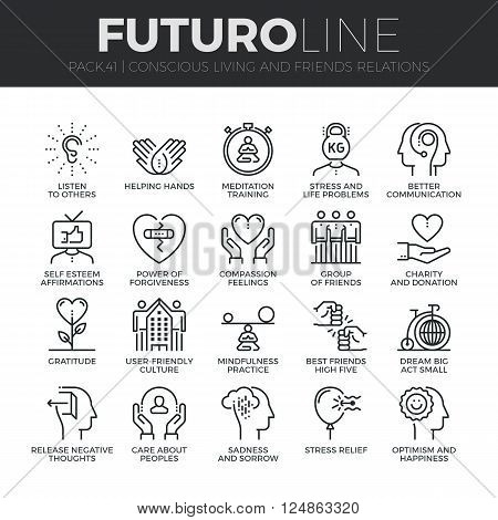 Modern thin line icons set of conscious living friends relations and emotions. Premium quality outline symbol collection. Simple mono linear pictogram pack. Stroke vector logo concept for web graphics. poster