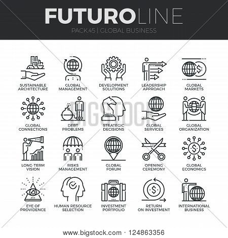 Modern thin line icons set of global business services and worldwide operations. Premium quality outline symbol collection. Simple mono linear pictogram pack. Stroke vector logo concept for web graphics.
