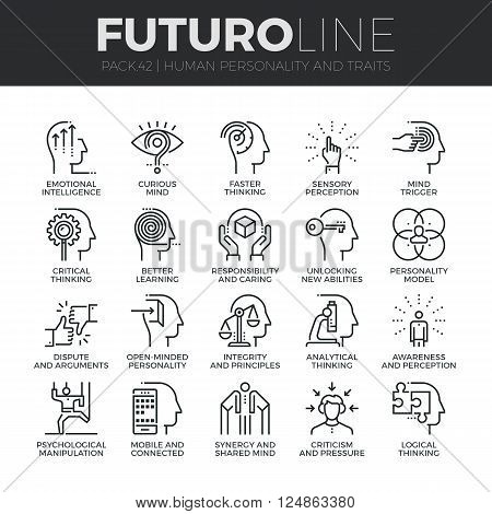 Modern thin line icons set of human personality thinking traits mind abilities. Premium quality outline symbol collection. Simple mono linear pictogram pack. Stroke vector logo concept for web graphics.