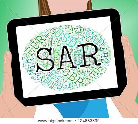 Sar Currency Represents Saudi Arabian Riyals And Coinage