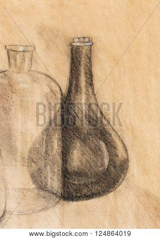 Drawing Carafe on vine. Original hand draw
