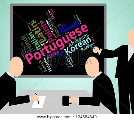Portuguese Language Represents Speech Translate And Vocabulary