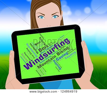 Windsurfing Word Means Water Sports And Sailboarding