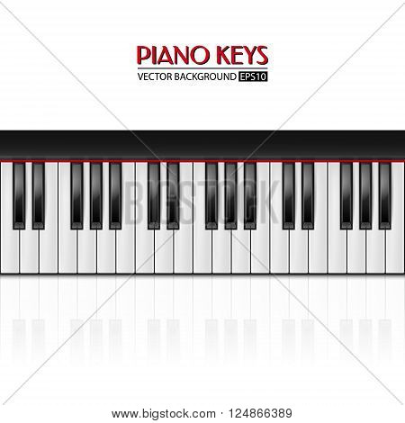 Background with realistic piano keys. Piano design, piano web, piano art, piano app. Vector EPS10 illustration.
