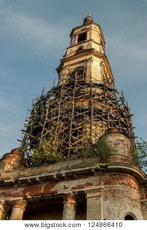Belltower of church of Nikita Velikomuchenik. 94 meters. Highest non-city belltower in Russia. Porechye-Rybnoye