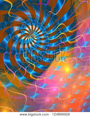 Fractal background with abstract spiral shapes. High detailed