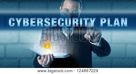 Corporate Security Director pushing CYBERSECURITY PLAN on a visual screen. Business challenge metaphor and information technology concept for preparing a set of cyber security procedures and methods.