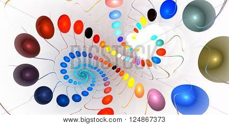 Fractal background with abstract galaxy spiral on white