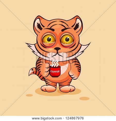 Vector Stock Illustration isolated Emoji character cartoon Tiger cub nervous with cup of coffee sticker emoticon for site, infographics, video, animation, websites, e-mails, newsletters, report, comic