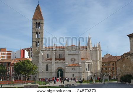 VALLADOLID SPAIN - MARCH 29 2015: People near the church of Santa Maria la Antigua in the city of Valladolid. Castile and Leon Spain