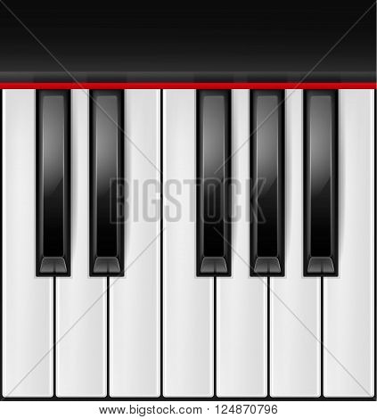 Realistic piano keys isolated on a white background. Octave. Piano image, grand piano, piano eps 10, piano vector, piano illustration, piano jpg, piano picture, piano design, piano web, piano art, piano app, piano icon. Vector EPS10 illustration.