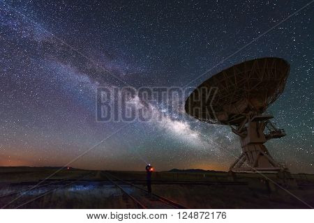 Milky way and big antenna dish at Very Large Array New Mexico USA. Powerful telescope for astronomy searching