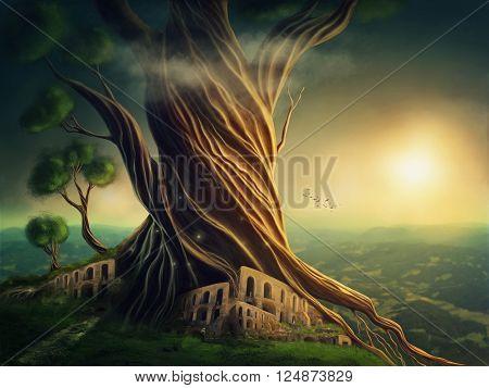 Big fantasy tree and the city