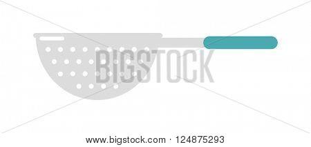 Stainless steel colander utensil kitchen equipment flat vector illustration.