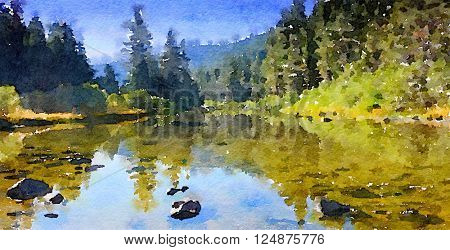 Nice Little watercolor Painting Of the merced River in Yosemite