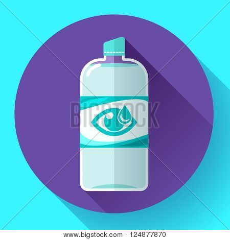 Contact lens daily solution icon with long shadow. Flat design style