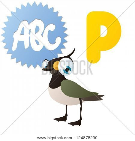 vector cute animal alphabet. Comic big eyes pets: P is for Plover