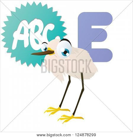 vector cute animal alphabet. Comic big eyes pets: E is for Egret