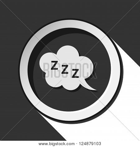 black icon with ZZZ speech bubble and white stylized shadow
