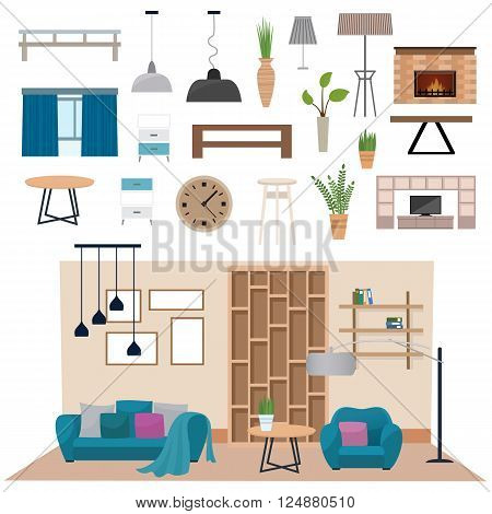 Living room interior furniture and living room interior design. Luxury living room interior wall architecture. Modern living room interior with wood floor apartment furniture vector illustration.