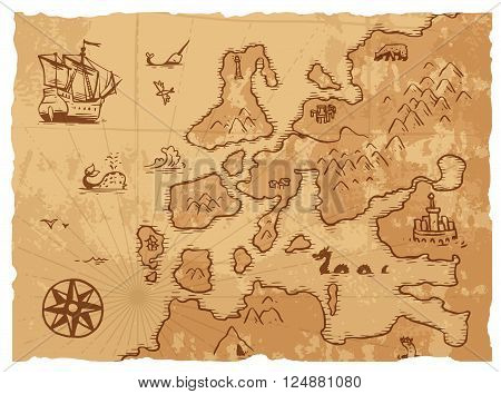 Vintage old map antique and retro vintage paper old map. Vintage old map world navigation art parchment manuscript. Old vintage retro ancient map antique history geography background vector illustration