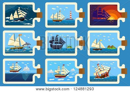 Ships in bottle hobby and miniature ships in bottle. Ships in bottle miniature souvenir nautical hobby. Glass bottle with ship inside miniature boat sea travel model vector illustration.