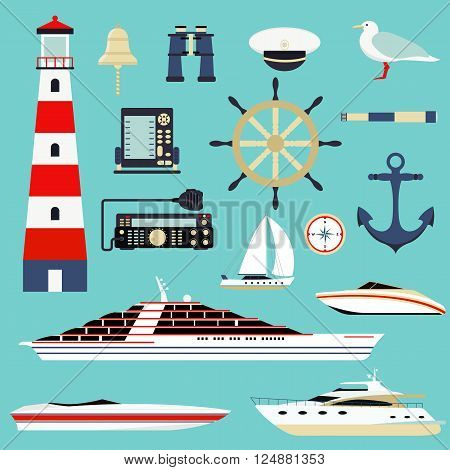Sea symbols nautical elements and sea symbols leisure sport. Symbol of sailors, sail, cruise and sea. Set of marine sea symbols. Nautical and marine icons, design element sea symbols vector.