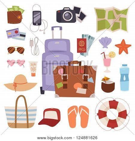 Summer vacation symbols holiday tourism and summer vacation bag trip symbols. Vacation concept tropical suitcase. Summer vacation symbols beach travel holiday tourism set flat vector illustration.