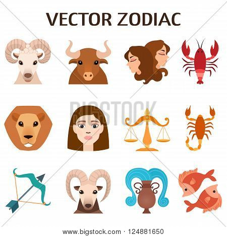 Set of zodiac signs, stylized icons of zodiac signs, horoscope symbols astrology mythology design astronomy collection. Zodiac signs colorful silhouettes horoscope astrology set vector illustration.