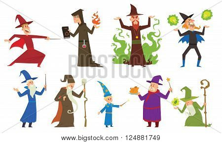 Magicians and wizards imagination, wich human performance magicians and mystery wizards show. Group of magicians and wizards illusion show old man imagination, performance character vector.
